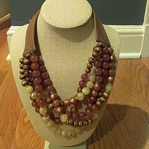 Chicos multistrand brown beaded necklace